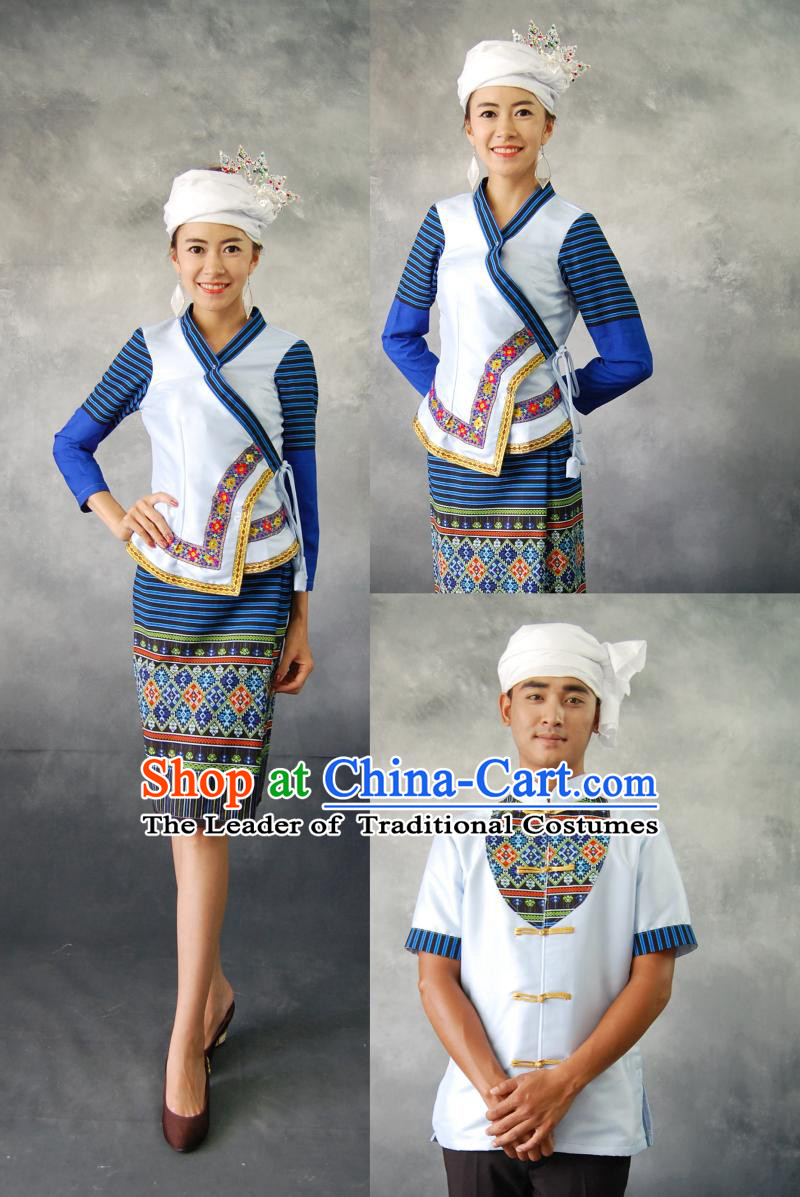 Traditional Thailand Customs Formal Clothing and Headwear Complete Set for Women