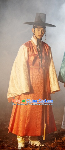 Ancient Korean Young Men Clothing and Hat Complete Set