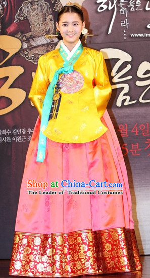 Ancient Korean Palace Princess Clothing Hanbok Han Bok and Hair Accessories Complete Set for Women