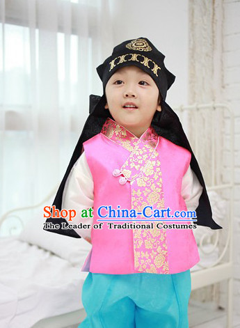 Korean Han Bok Clothes and Hat Complete Set for Boys