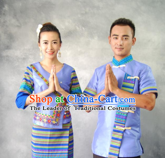 Thailand National Traditional Costumes 2 Sets for Men and Women
