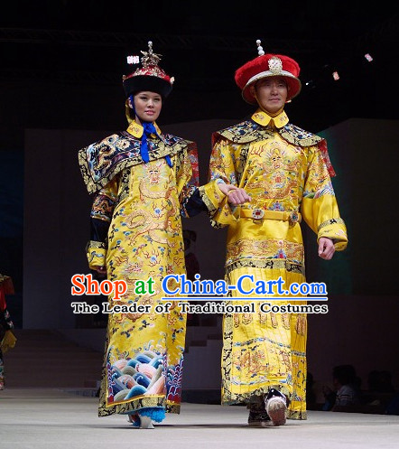 Qing Dynasty Emperor and Empress Imperial Clothing and Hats Two Complete Sets