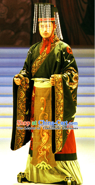 Qin Shi Huang Han Emperor Costumes and Hat Complete Set for Men