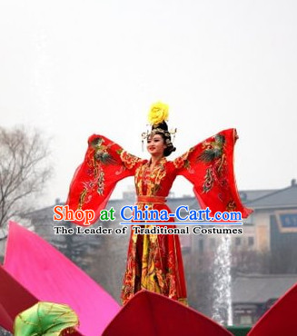 Ancient Chinese Tang Dynasty Palace Dancer Costumes and Hair Accessories Complete Set.