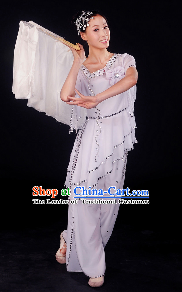 Chinese Pure White Dance Costumes and Headwear Complete Set for Women