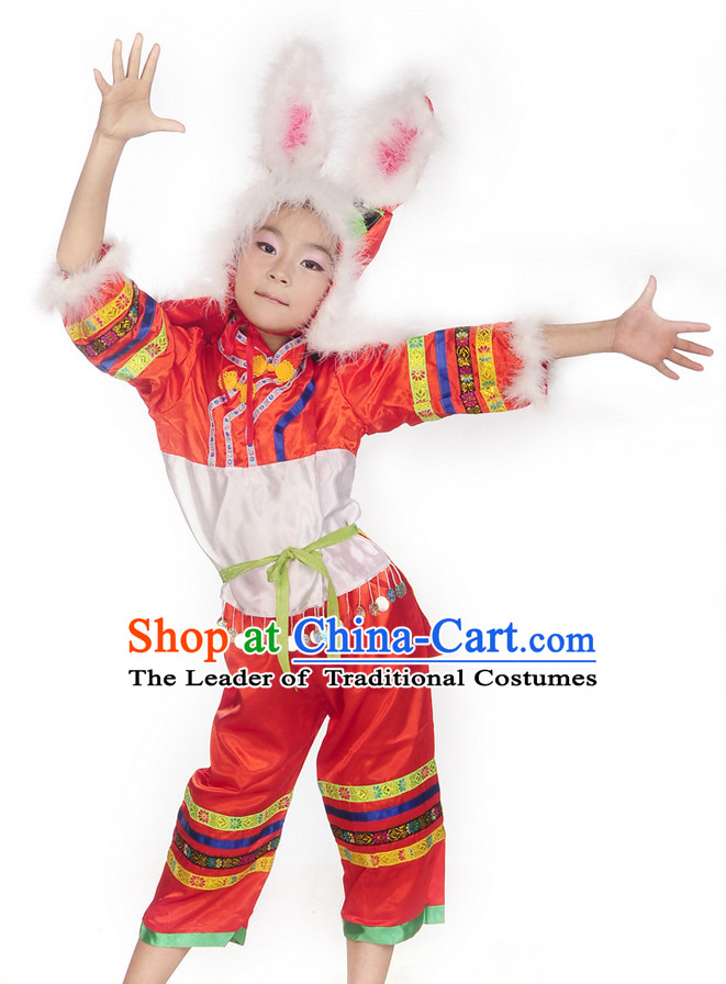 Chinese New Year Rabbits Dance Costumes Complete Set for Kids