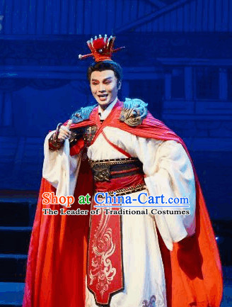 Ancient Chinese Opera General Fighter Costumes and Hat Complete Set for Men