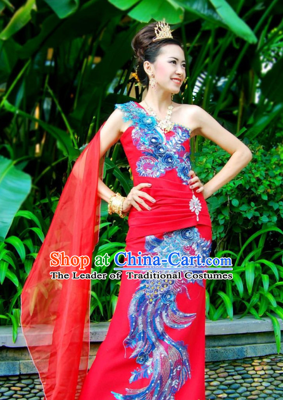 Thailand Fashion Thailand Customs Traditional Wedding Dress National Bridal Costumes and Hair Accessories Complete Set for Women