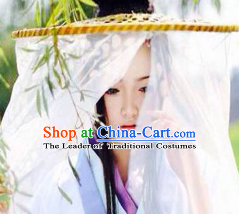Handmade Chinese Swordswoman Style Bamboo Hat with Veil