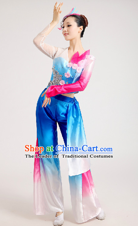 Chinese Festival Celebration Folk Fan Group Dance Costume and Hair Jewelry