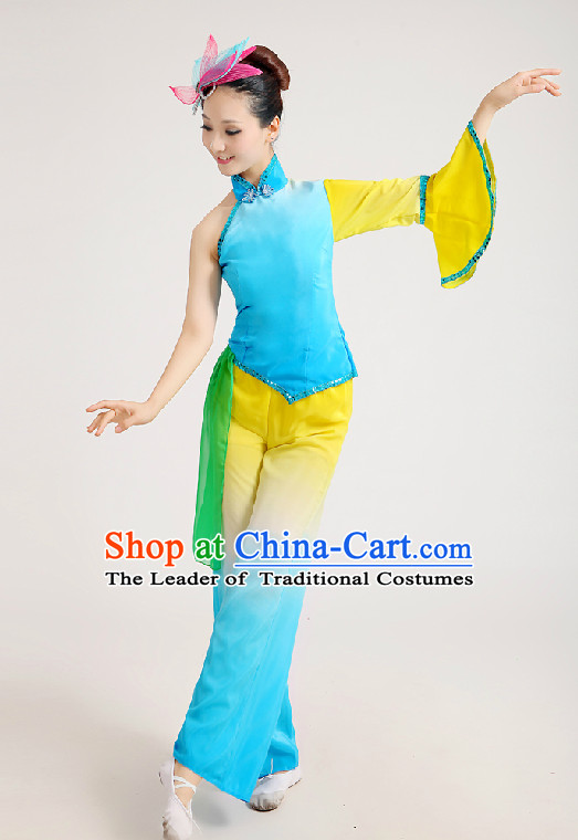 Chinese Festival Celebration Fan Group Dance Costume and Hair Jewelry
