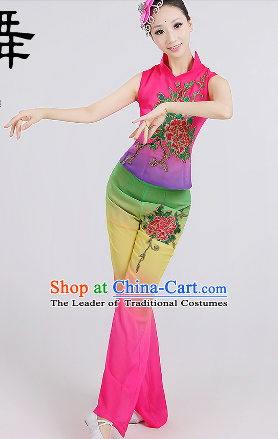 Chinese Group Fan Dancewear Dance Clothes and Hair Decorations Complete Set for Women