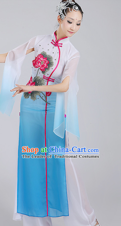 Chinese Group Umbrella Dancewear Dance Clothes and Hair Decorations Complete Set for Women