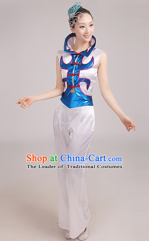 High Collar Chinese Fan Dance Costumes Dancing Clothes and Headpieces Complete Set for Woen