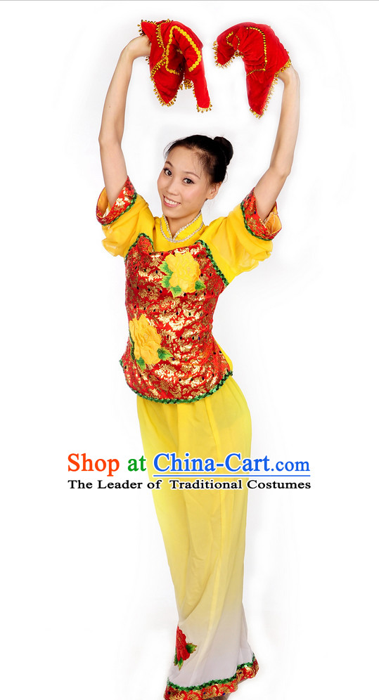 Chinese Folk Ribbon Hankerchief Dance Costume Uniforms for Women