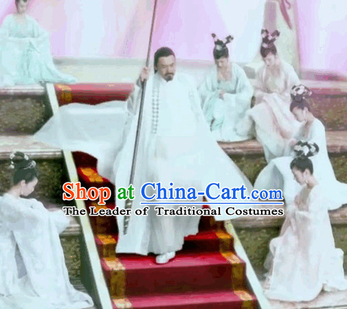 Chinese White Fairytale Jade Emperor Yu Huang Da Di Costume Complete Set