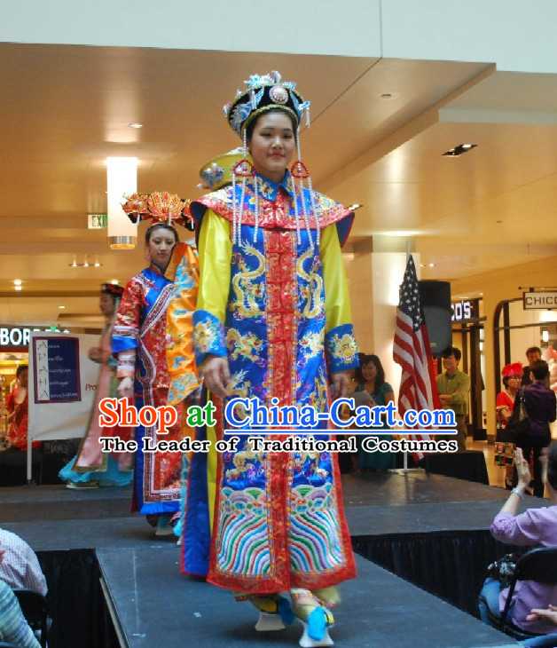 Chinese Qing Queen Costume and Hat Complete Set