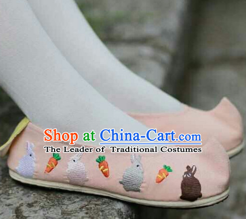 Ancient Style Pink Rabbit Female Handmade Shoes