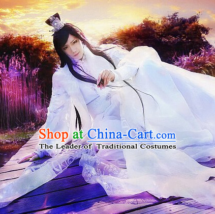 Chinese Prince Cosplay Halloween Costumes and Hair Jewelry Complete Set for Men or Women