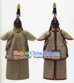 China Classic Qing Dynasty General Armor Costume and Helmet