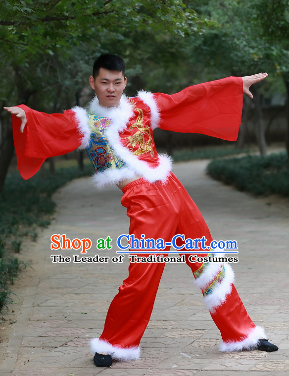 Chinese Made to Order Folk Dance Costume and Headpieces Complete Set for Men