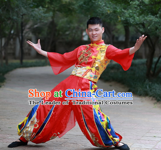 Chinese Made to Order Folk Drum Dance Costume and Headpieces Complete Set for Men