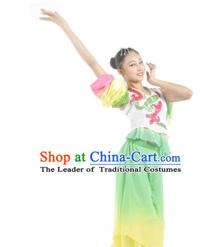 Custom Made Chinese Ribbon Dance Costume and Headpieces Complete Set for Women