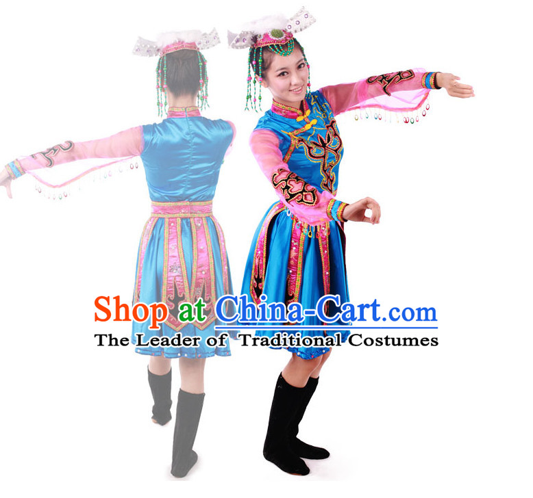 Chinese Teenagers Folk Ethnic Dance Costume and Headpiece for Competition