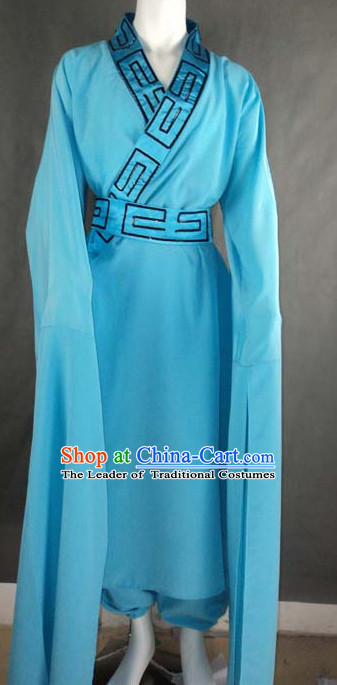 Blue Chinese Quality Classical Dance Costume and Headwear Complete Set for Men