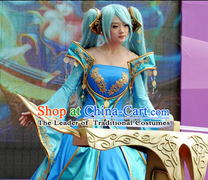 Ancient Chinese Fairy Blue Halloween Costumes and Hair Accessories