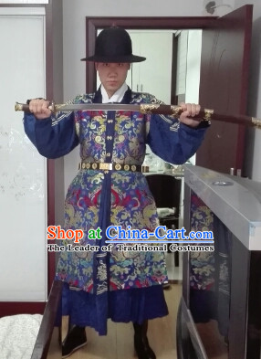 Chinese Ancient Ming Dynasty Clothes and Hat Complete Set for Men