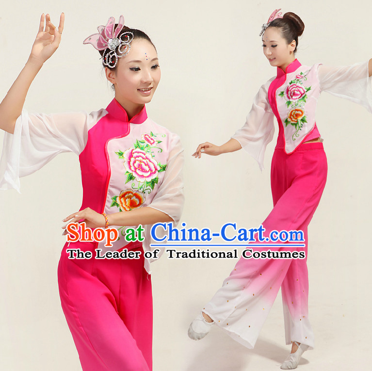 Asian Dance Costume Competition Costumes Dancewear China Dress Dance Wear and Headpieces Complete Set