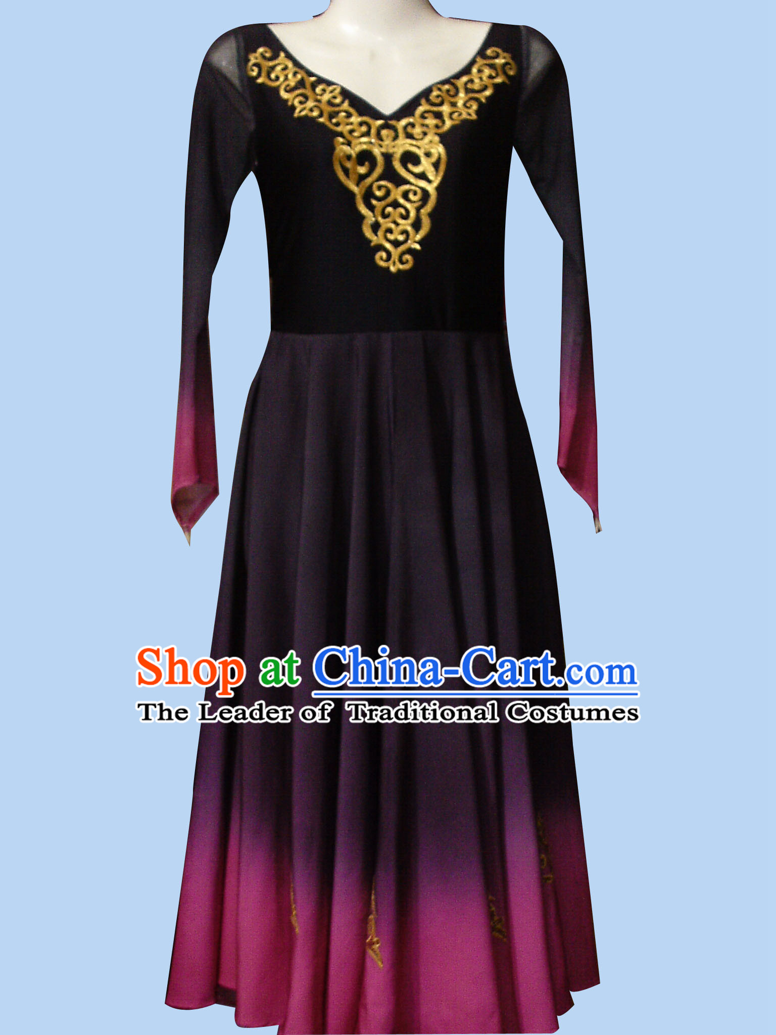Top Chinese Xinjiang Ethnic Dance Costume Competition Dance Costumes Set