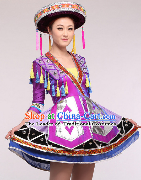 Chinese Folk Ethnic Competition Dance Costume Group Dancing Costumes and Hat Complete Set for Women