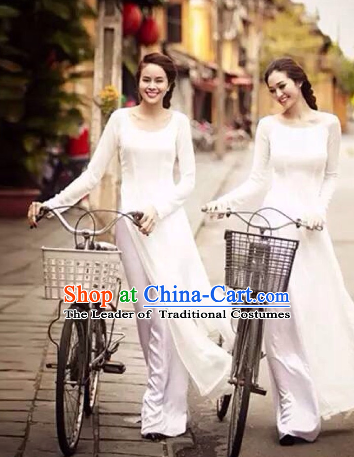 Pure White Traditional Vietnamese Girl Clothing Ao Dai Complete Set