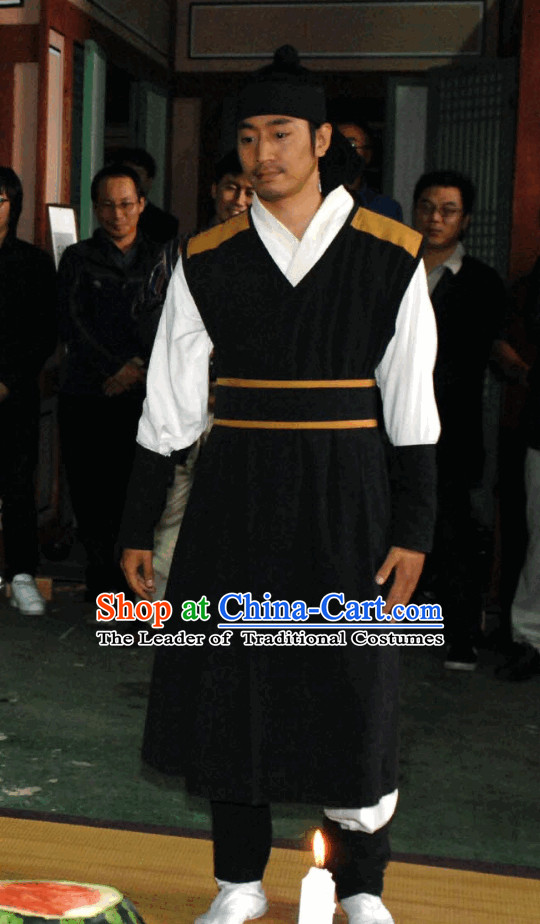 Korean Ancient Male Clothing and Headwear Complete Set for Men