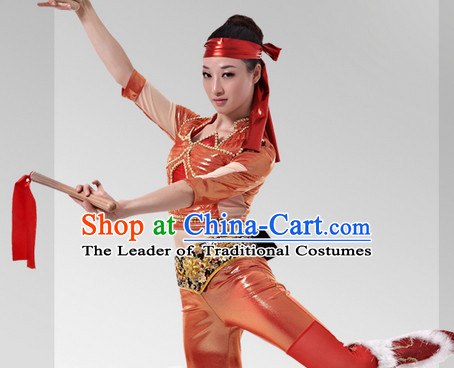 Chinese Stage Celebration Drum Dancewear and Head Band Complete Set for Women