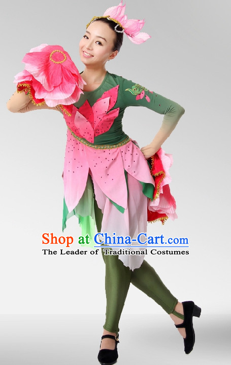 Chinese Stage Celebration Flower Lotus Dancewear Dancing Costume Complete Set for Women