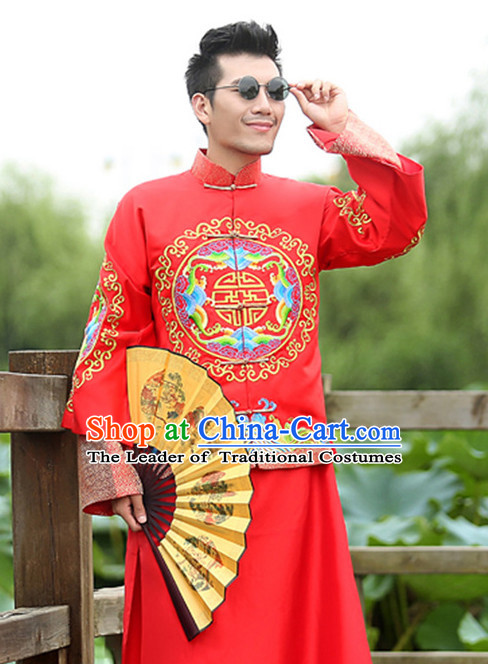 Top Chinese Minguo Mandarin Bridegroom Wedding Clothes Complete Set