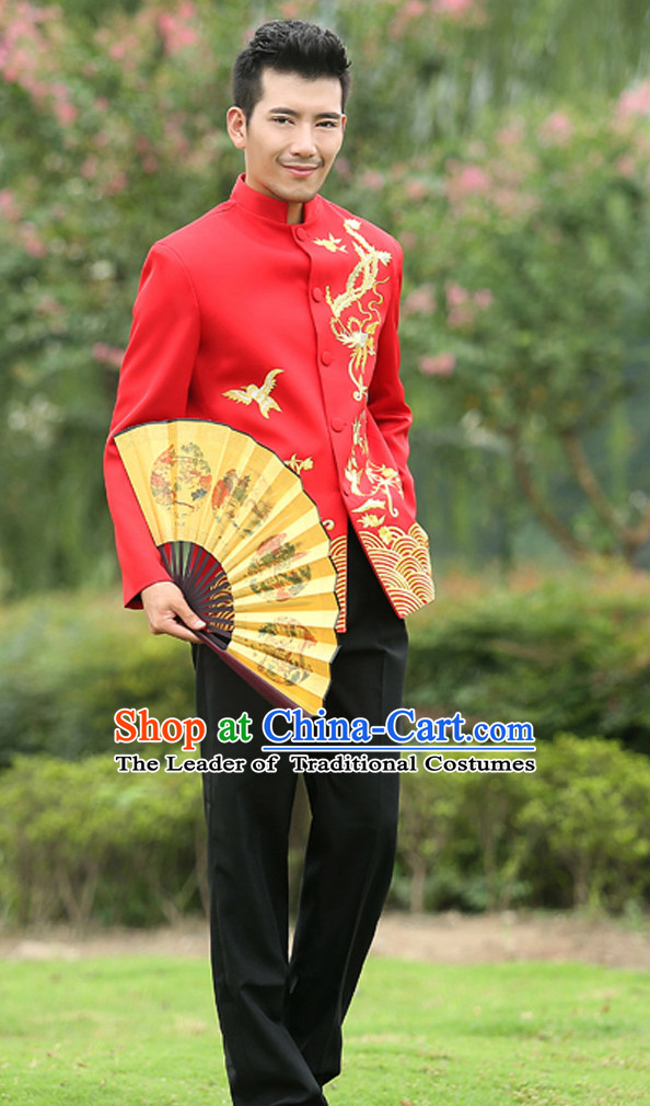 Top Chinese Red Mandarin Bridegroom Wedding Clothes Complete Set