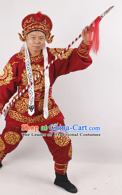 Chinese Opera Solider Costume and Hat Complete Set for Men