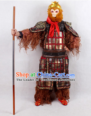 Monkey King Fur Costume and Headwear Complete Set for Men