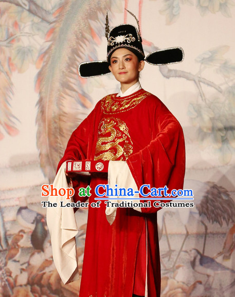 Red Chinese Opera Stage Performance Official Costumes and Hat Complete Set