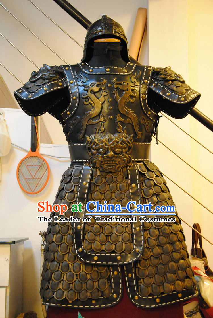 Ancient China Superhero Armor Costumes and Helmet Complete Set for Men