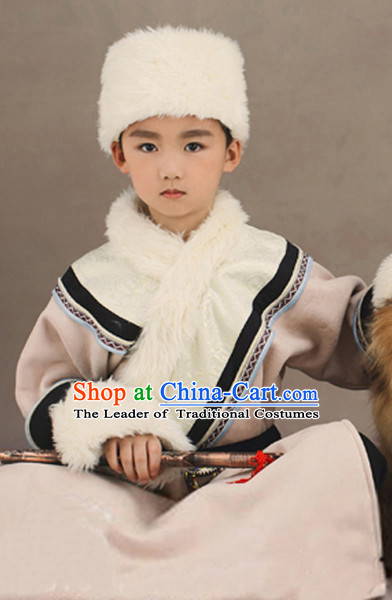 Ancient Chinese Mongolian Costumes and Hat Complete Set for Kids