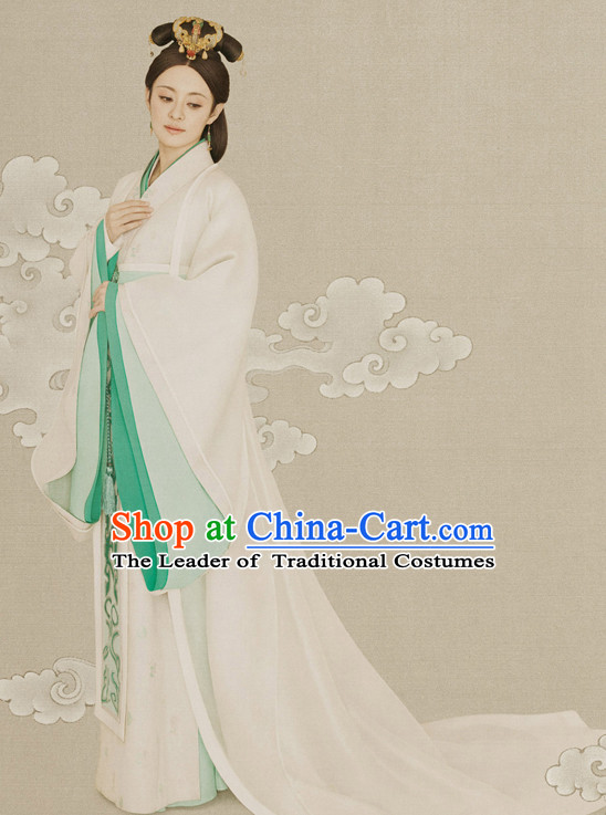 Ancient Chinese Qin Dynasty Costumes and Hair Jewelry Complete Set for Women