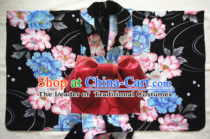 Top Authentic Traditional Japanese Kimonos Kimono Dress Yukata Clothing Garment Complete Set for Women Ladies Girls