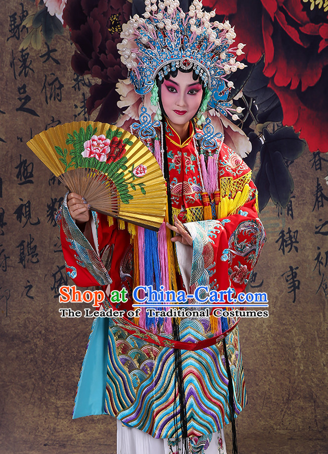 Ancient Chinese Hua Dan Empress Opera Costumes and Phoenix Coronet Complete Set for Women