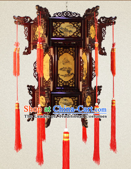 Ancient Chinese Style Handmade Natural Wood Palace Lantern