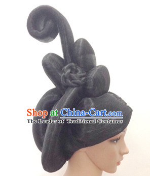 Chinese Ancient Empress Queen Female Hairstyle Long Black Wigs